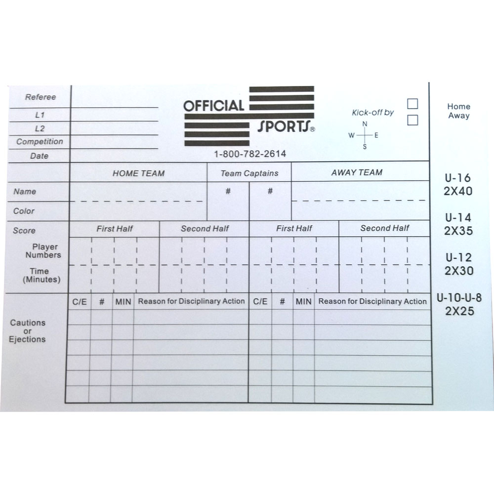 Official Sports International Referee report form